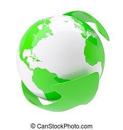 Grüner Pfeil um die Erde