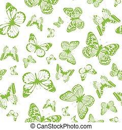 Grüner Schmetterlingshintergrund.