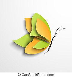 Grüner und gelber Papierfalter