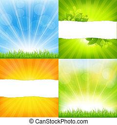 Grüner und oranger Hintergrund mit Sonnenbrand
