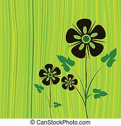 Grüner Vektor-Hintergrund mit Blumen