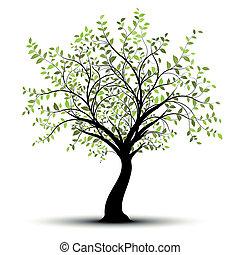 Grüner Vektorbaum weißer Hintergrund
