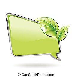Grünes Banner mit Blatt. Vector