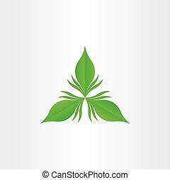 Grünes Blatt abstraktes Vektorsymbol.