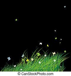Grünes Feld mit Schmetterlingen, Sommerhintergrund