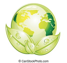 Grünes GIossy-Welt-Ikone