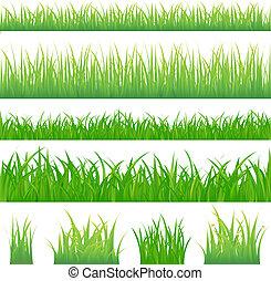 grünes gras, hintergruende, 4, büschel