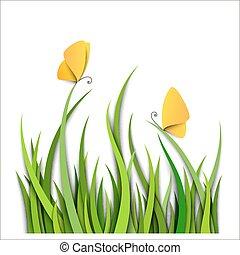 Grünes Gras mit Schmetterlingen