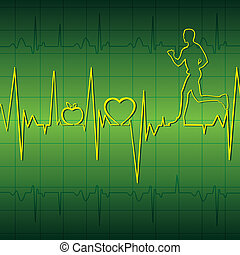 Grünes Herz schlägt Graph Background
