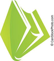 Grünes Hochglanzbuchsymbol.