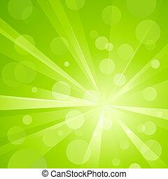 Grünes Licht platzte vor glänzendem Licht