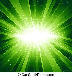 Grünes Licht platzte vor Sternen