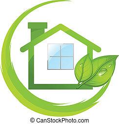 Grünes Logo des Öko-Hauses mit Blättern