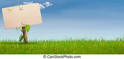 Grünes Zeichen, horizontales Banner, blauer Himmel
