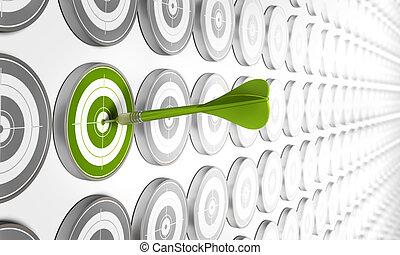 Grünes Ziel getroffen von einem grünen Pfeil mit vielen anderen grauen Zielen