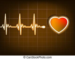 Graph aus einem Herzschlag und einem Herz. EPS 8