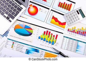 Graphen, Tabellen, Geschäftstisch.