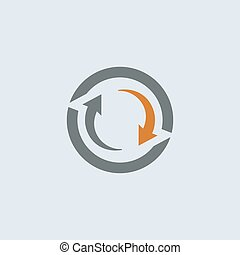 Grau-orange-Zyklus rundes Icon.