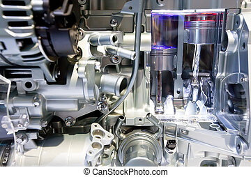 Graue Metallgetriebe im Automotor