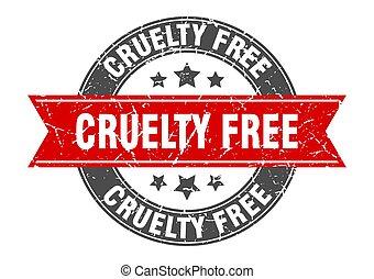 grausamkeit, briefmarke, zeichen, frei, runder , etikett, ribbon.
