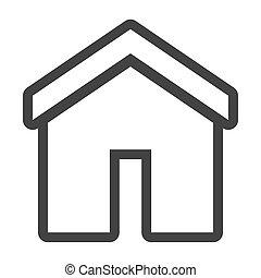 Graustufen-Kontur mit Home Icon.