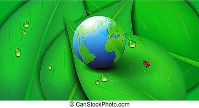Green Earth Ikone Symbol Ökologieblatt Hintergrund.