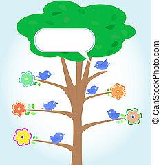 Greeting-Karte mit Vögeln unter Baum. Vector