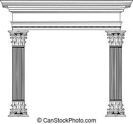 Griechische Säule und Bogen