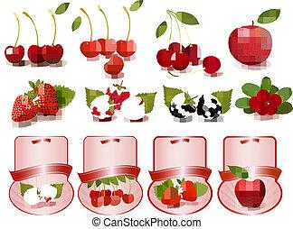 Große Auswahl an frischen Kirschen und Früchten.