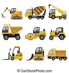 Große Baufahrzeuge Ikonen