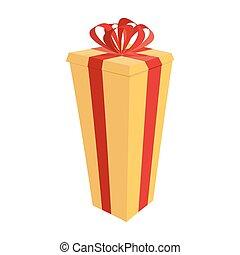 Große Geschenkdose. Festive Tall Geschenk Vektor Illustration für Neujahr und Weihnachten