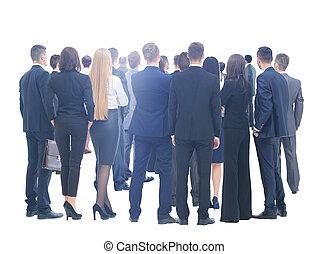 Große Gruppe von Geschäftsleuten. Über weißer Hintergrund