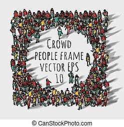Große Gruppen-Leute rahmen.