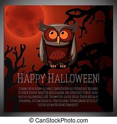Großes Halloween-Banner mit Illustration brauner Eule auf dem unheimlichen Baumzweig. Vector