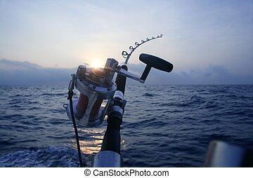 Großes Wildboot, das im tiefen Meer fischt