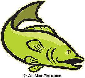 Großmaul-Bass springt Cartoon