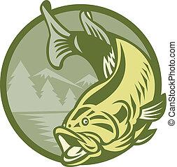 Großmaul-Bassfisch springt Retro