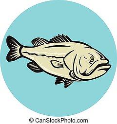 Großmaulbarsch-Fisch-Seitenkreis-Cartoon.