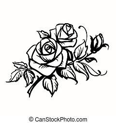 grobdarstellung, roses., hintergrund, schwarz, weißes, zeichnung