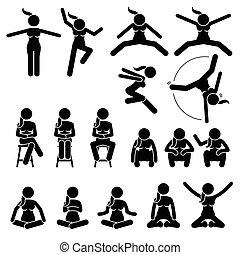 Grundlegende Frauen springen und sitzen.