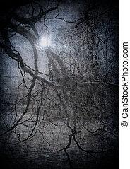 Grunge-Bild des dunklen Waldes, perfekter Halloween-Hintergrund