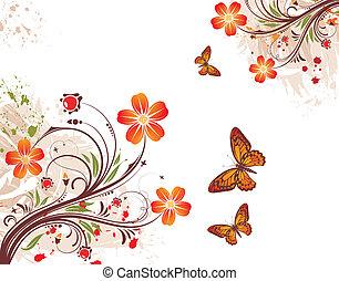 Grunge-Blumen-Hintergrund