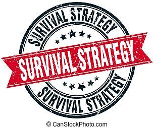 grunge, briefmarke, überleben, strategie, runder , geschenkband