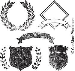 grunge, elemente, banner, logo