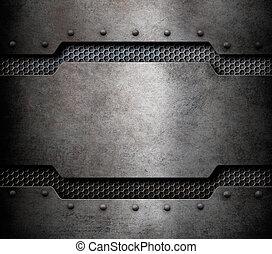 Grunge Metall Hintergrund mit Kammgitter 3d Abbildung.