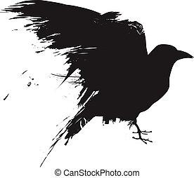 Grunge Raven Vektorsilhouette