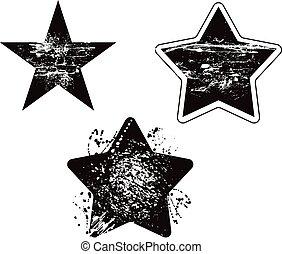 Grunge Sternenelement beschädigte Vektor-Design eingestellt.