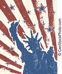 grunge, themed, hintergrund., amerikanische , vector., tag, unabhängigkeit
