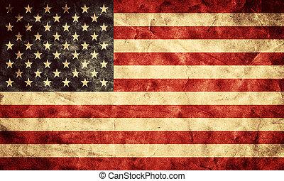 grunge, usa, flag., weinlese, posten, flaggen, retro, sammlung, mein
