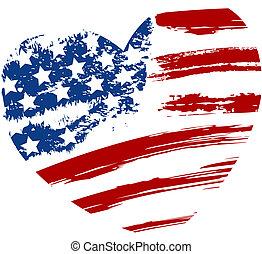 Grunge USA Flagge in Herzform.